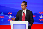 Democratic presidential candidate former Housing Secretary Julian Castro speaks during a Democratic presidential primary debate hosted by CNN/New York Times at Otterbein University, Tuesday, Oct. 15, 2019, in Westerville, Ohio. (AP Photo/John Minchillo)