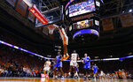 Tennessee guard Jordan Bowden (23) dunks the ball during the first half of an NCAA college basketball game against Kentucky Saturday, March 2, 2019, in Knoxville, Tenn. (AP Photo/Wade Payne)