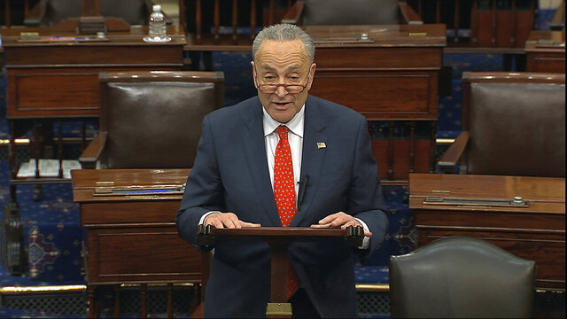 In this image from video, Senate Minority Leader Chuck Schumer, D-N.Y., speaks on the Senate floor at the U.S. Capitol in Washington, Wednesday, March 25, 2020. (Senate Television via AP)