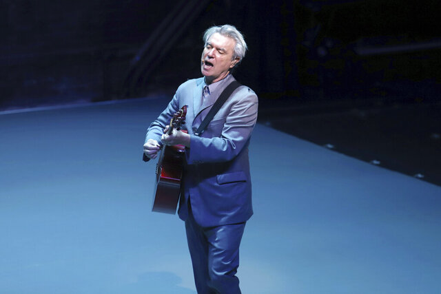 FILE - This Oct. 20, 2019 file photo shows David Byrne during the Broadway opening night curtain call of