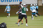 Carolina Panthers quarterback Teddy Bridgewater throws a pass during NFL football training camp practice Sunday, Aug. 16, 2020 in Charlotte, N.C. (AP Photo/Nell Redmond)