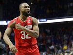 Ohio State's Keyshawn Woods celebrates after defeating Iowa State in a first round men's college basketball game in the NCAA Tournament Friday, March 22, 2019, in Tulsa, Okla. Ohio State won 62-59. (AP Photo/Jeff Roberson)