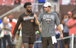 FILE - In this Aug. 29, 2019, file photo, Cleveland Browns wide receiver Jarvis Landry, left, talks with quarterback Baker Mayfield before an NFL preseason football game against the Detroit Lions in Cleveland.  Mayfield isn't concerned about the huge expectations being placed on the Browns, who went 7-8-1 during his rookie season but upgraded their roster and should compete for their first playoff spot since 2002. (AP Photo/David Richard)