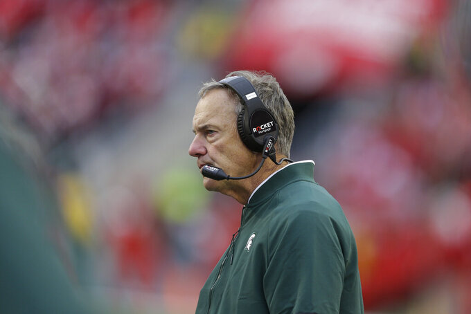 Michigan State head coach Mark Dantonio looks on during the second half of an NCAA college football game against Wisconsin Saturday, Oct. 12, 2019, in Madison, Wis. Wisconsin won 38-0. (AP Photo/Andy Manis)