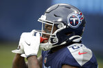 Tennessee Titans wide receiver Corey Davis celebrates after scoring against the Detroit Lions during the first half of an NFL football game Sunday, Dec. 20, 2020, in Nashville, N.C. (AP Photo/Ben Margot)