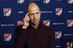 U.S. Men's National Team head coach Gregg Berhalter is interviewed during the Major League Soccer 25th Season kickoff event, in New York, Wednesday, Feb. 26, 2020. (AP Photo/Richard Drew)