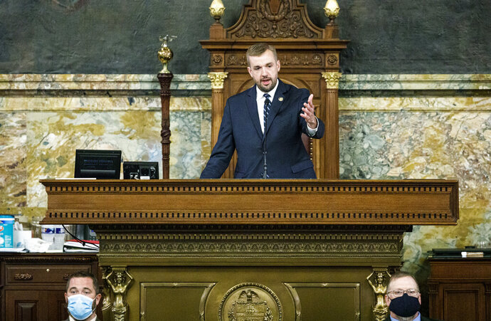 State Rep. Bryan Cutler, R-Lancaster County, addresses the House after being elected to serve as Pennsylvania House Speaker, Monday, June 22, 2020. He fills a post vacated last week by Mike Turzai, who resigned his House seat to take a job in the private sector. (Dan Gleiter/The Patriot-News via AP)