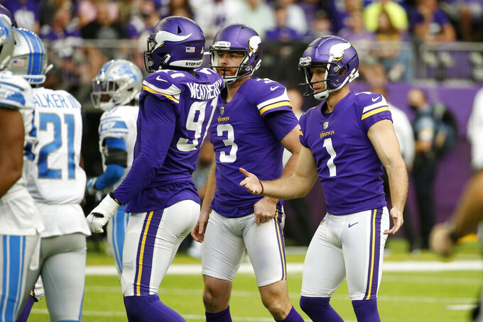Minnesota Vikings kicker Greg Joseph (1) celebrates with teammates after kicking a 55-yard field goal during the second half of an NFL football game against the Detroit Lions, Sunday, Oct. 10, 2021, in Minneapolis. (AP Photo/Bruce Kluckhohn)