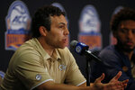 Georgia Tech basketball coach Josh Pastner answers a question during the Atlantic Coast Conference NCAA college basketball media day in Charlotte, N.C., Tuesday, Oct. 8, 2019. (AP Photo/Nell Redmond)