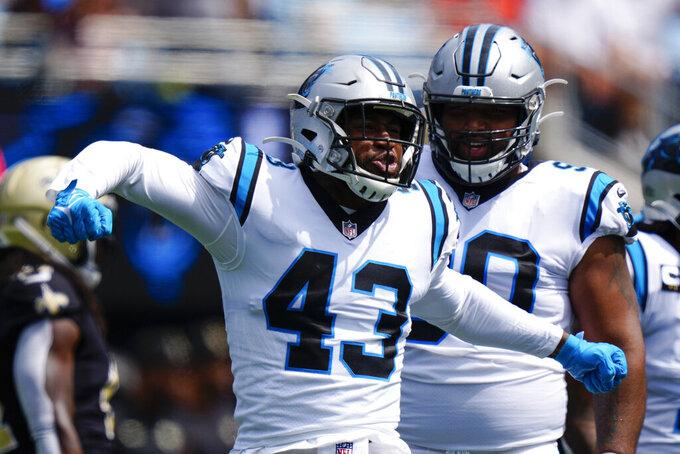 Carolina Panthers outside linebacker Haason Reddick celebrates after sacking New Orleans Saints quarterback Jameis Winston during the first half of an NFL football game Sunday, Sept. 19, 2021, in Charlotte, N.C. (AP Photo/Jacob Kupferman)