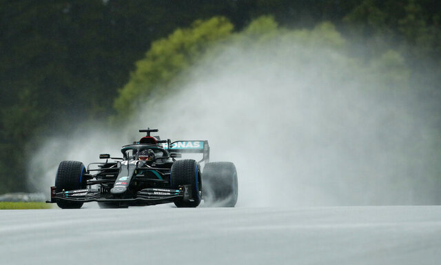 Mercedes driver Lewis Hamilton of Britain steers his car during the qualifying session for the Styrian Formula One Grand Prix at the Red Bull Ring racetrack in Spielberg, Austria, Saturday, July 11, 2020. The Styrian F1 Grand Prix will be held on Sunday. (AP Photo/Darko Bandic, Pool)