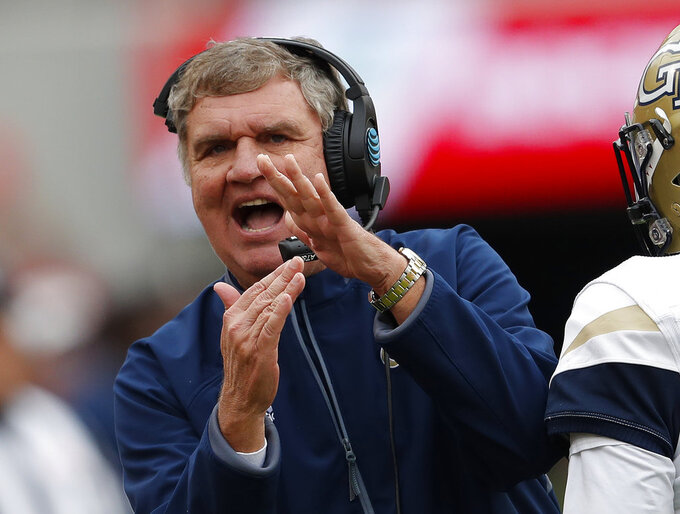 Georgia Tech head coach Paul Johnson calls for a timeout during the second half of an NCAA college football game against Georgia, Saturday, Nov. 24, 2018, in Athens, Ga. Georgia won 45-21. (AP Photo/John Bazemore)