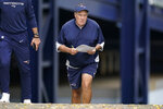 New England Patriots head coach Bill Belichick steps onto the field at the start of an NFL football practice, Monday, Aug. 9, 2021, in Foxborough, Mass. (AP Photo/Steven Senne)