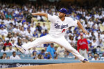 Los Angeles Dodgers starting pitcher Clayton Kershaw throws to the plate during the first inning of a baseball game against the Philadelphia Phillies Wednesday, June 16, 2021, in Los Angeles. (AP Photo/Mark J. Terrill)