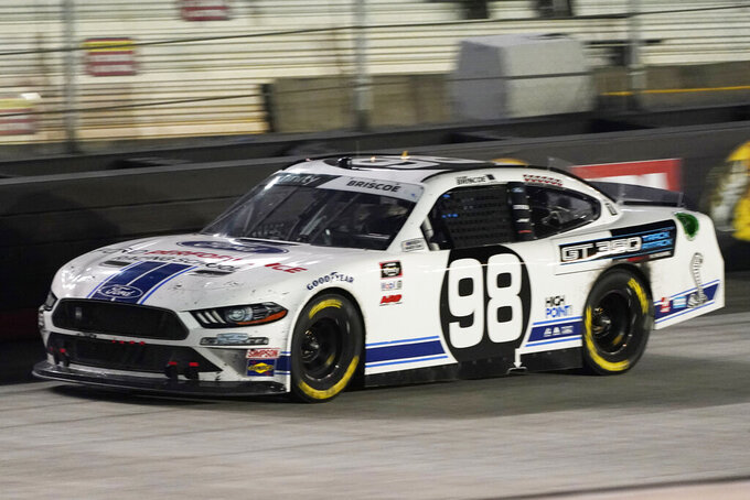 Chase Briscoe heads down the front stretch during the NASCAR Xfinity Series auto race Friday, Sept. 18, 2020, in Bristol, Tenn. (AP Photo/Steve Helber)