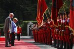 Albanian Prime Minister Edi Rama, left, and the German Chancellor Angela Merkel join the welcome ceremony at the Palace of Brigades in Tirana, Albania, Tuesday, Sept. 14, 2021. Merkel is on a farewell tour of the Western Balkans, as she announced in 2018 that she wouldn't seek a fifth term as Germany's Chancellor. (AP Photo/Franc Zhurda)