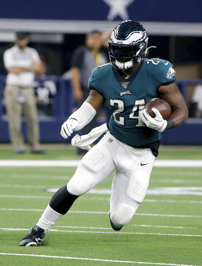 Philadelphia Eagles running back Jordan Howard (24) runs the ball in the first half of an NFL football game against the Dallas Cowboys in Arlington, Texas, Sunday, Oct. 20, 2019. (AP Photo/Michael Ainsworth)