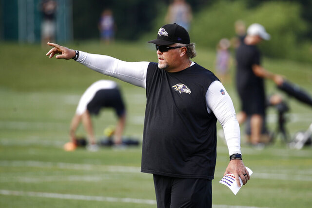 FILE - In this Friday, July 17, 2018, file photo, Baltimore Ravens defensive coordinator Don Martindale directs players during an NFL football training camp practice in Owings Mills, Md. Martindale was quite pleased with a virtual minicamp that enabled his unit to get a grasp on the playbook this spring without actually getting on the field. (AP Photo/Patrick Semansky, File)