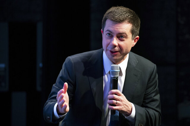 Democratic presidential candidate former South Bend, Ind., Mayor Pete Buttigieg speaks during the New Hampshire Youth Climate and Clean Energy Town Hall, Wednesday, Feb. 5, 2020, in Concord, N.H. (AP Photo/Mary Altaffer)