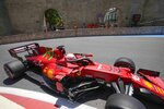 Ferrari driver Charles Leclerc of Monaco steers his car during the first free practice at the Baku Formula One city circuit, in Baku, Azerbaijan, Friday, June 4, 2021. The Formula one race will be held on Sunday. (AP Photo/Darko Vojinovic)