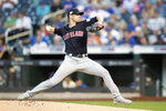 Cleveland Indians starting pitcher Shane Bieber delivers against the New York Mets during the first inning of a baseball game, Tuesday, Aug. 20, 2019, in New York. (AP Photo/Mary Altaffer)