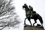 """FILE - A statue of Stonewall Jackson is seen uncovered in Justice Park, in Charlottesville, Va., on Wednesday, Feb. 28, 2018.  Charlottesville said in a news release Friday, July 9, 2021,   that the equestrian statue of Confederate Gen. Robert E. Lee as well as a nearby one of Confederate Gen. Thomas """"Stonewall"""" Jackson will be taken down Saturday.(Zack Wajsgras/The Daily Progress via AP)"""