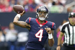 Houston Texans quarterback Deshaun Watson (4) throws against the Atlanta Falcons during the first half of an NFL football game Sunday, Oct. 6, 2019, in Houston. (AP Photo/Michael Wyke)