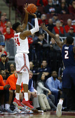 Ohio State forward Andre Wesson goes up for a shot against Illinois forward Kipper Nichols during the first half of an NCAA college basketball game in Columbus, Ohio, Thursday, Feb. 14, 2019. (AP Photo/Paul Vernon)