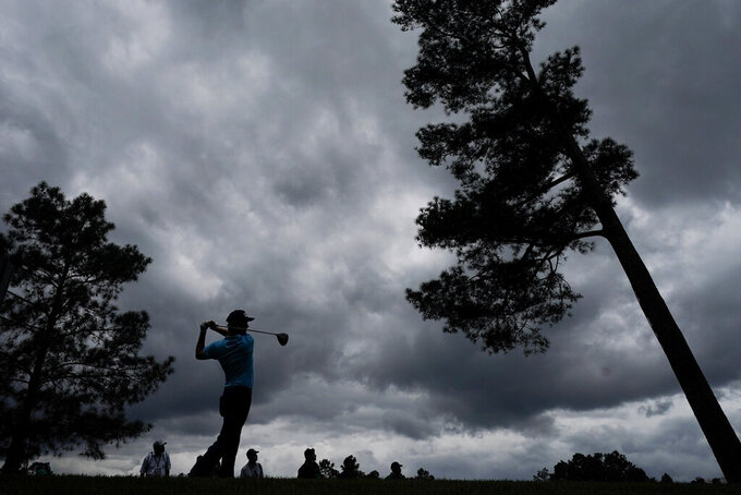 Abraham Ancer, of Mexico, tees off on the 18th hole during the second round of the Masters golf tournament on Friday, April 9, 2021, in Augusta, Ga. (AP Photo/Charlie Riedel)