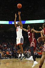Virginia guard Tomas Woldetensae (53) shoots against Boston College during an NCAA college basketball game Wednesday, Feb. 19, 2020, in Charlottesville, Va. (Erin Edgerton/The Daily Progress via AP)
