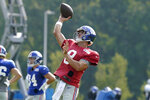 New York Giants quarterback Daniel Jones (8) passes the ball during a joint NFL football practice with the New England Patriots, Wednesday, Aug. 25, 2021, in Foxborough, Mass. (AP Photo/Steven Senne)