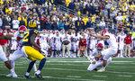 Rutgers kicker Valentino Ambrosio (1) kicks a 25-yard field goal in the fourth quarter of an NCAA college football game against Michigan in Ann Arbor, Mich., Saturday, Sept. 25, 2021. Michigan won 20-13. (AP Photo/Tony Ding)