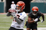 Cincinnati Bengals wide receiver Alex Erickson catches a pass during practice at the team's NFL football facility, Wednesday, June 12, 2019, in Cincinnati. (AP Photo/John Minchillo)