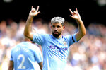 Manchester City's Sergio Aguero celebrates scoring his side's third goal of the game during the English Premier League soccer match at the Etihad Stadium, Manchester, England, Saturday Aug. 31, 2019. (Nick Potts/PA via AP)
