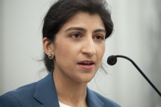 FILE - In this April 21, 2021, file photo, Lina Khan, speaks during a Senate Committee on Commerce, Science, and Transportation confirmation hearing on Capitol Hill in Washington. (Saul Loeb/Pool via AP)