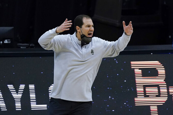 Baylor head coach Scott Drew reacts during the first half of the championship game against Gonzaga in the men's Final Four NCAA college basketball tournament, Monday, April 5, 2021, at Lucas Oil Stadium in Indianapolis. (AP Photo/Michael Conroy)