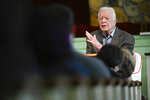 In this Sunday, Nov. 3, 2019, file photo, former President Jimmy Carter teaches Sunday school at Maranatha Baptist Church, in Plains, Ga. Nearly four decades after he left office and despite a body that's failing after 95 years, the nation's oldest-ever ex-president still teaches Sunday school roughly twice monthly at the church. (AP Photo/John Amis, File)
