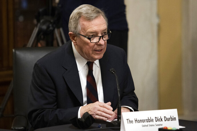 Sen. Dick Durbin, D-Ill., introduces Secretary of State nominee Antony Blinken during his confirmation hearing to be Secretary of State before the Senate Foreign Relations Committee on Capitol Hill in Washington, Tuesday, Jan. 19, 2021. (Graeme Jennings/Pool via AP)