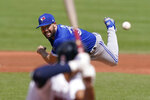 Toronto Blue Jays' Robbie Ray delivers a pitch against the Boston Red Sox in the first inning of a baseball game, Sunday, Sept. 6, 2020, in Boston. (AP Photo/Steven Senne)
