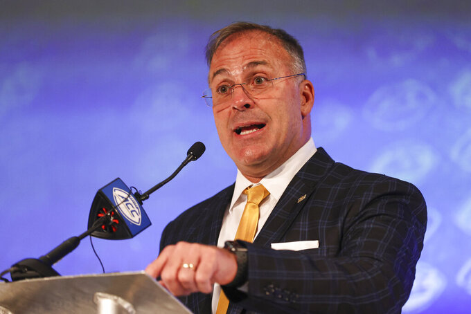 Pittsburgh head coach Pat Narduzzi answers a question during the NCAA college football Atlantic Coast Conference media days in Charlotte, N.C., Wednesday, July 21, 2021. (AP Photo/Nell Redmond)