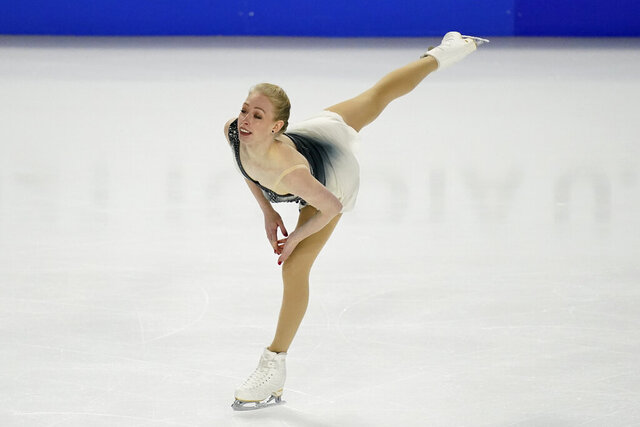 Bradie Tennell performs during the women's free skate at the U.S. Figure Skating Championships, Friday, Jan. 15, 2021, in Las Vegas. (AP Photo/John Locher)