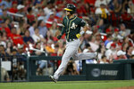 Oakland Athletics' Chad Pinder runs the bases after hitting a two-run home run during the fifth inning of the team's baseball game against the St. Louis Cardinals on Tuesday, June 25, 2019, in St. Louis. (AP Photo/Scott Kane)