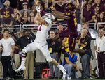 Stanford's Sean Barton intercepts a pass intended for Arizona State's Kyle Williams during the first half of an NCAA college football game Thursday, Oct. 18, 2018, in Tempe, Ariz. (AP Photo/Darryl Webb)