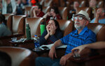 Lauren Greenberg, a New England Patriots fan, reacts while watching Super Bowl LIII at the Westgate Superbook sports book, Sunday, Feb. 3, 2019, in Las Vegas. (AP Photo/John Locher)