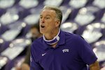 TCU head coach Jamie Dixon instructs his team in the second half of an NCAA college basketball game against North Dakota State in Fort Worth, Texas, Tuesday, Dec. 22, 2020. (AP Photo/Tony Gutierrez)