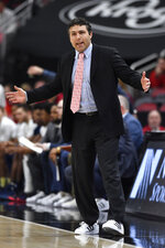 Georgia Tech head coach Josh Pastner argues a call during the first half of an NCAA college basketball game in Louisville, Ky., Wednesday, Jan. 22, 2020. (AP Photo/Timothy D. Easley)