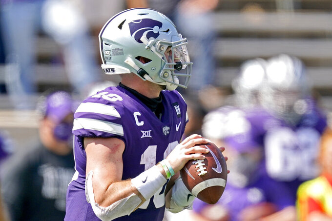 Kansas State quarterback Skylar Thompson (10) prepares to pass the ball during the second half of an NCAA college football game against Arkansas State, Saturday, Sept. 12, 2020, in Manhattan, Kan. (AP Photo/Charlie Riedel)