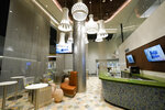 A bar is seen inside a VIP lobby at SoFi Stadium, the future home for the Los Angeles Rams and the Los Angeles Chargers NFL football teams, Friday, Sept. 4, 2020, in Inglewood, Calif. (AP Photo/Marcio Jose Sanchez)