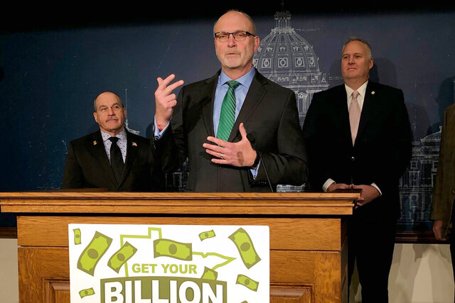 Minnesota Senate Tax Committee Chairman Roger Chamberlain speaks at a news conference at the state Capitol in St. Paul, Minn., on Thursday, Feb. 20, 2020, where he outlined a Senate GOP proposal to use the state's projected $1.3 billion budget surplus for tax cuts. (AP Photo/Steve Karnowski)