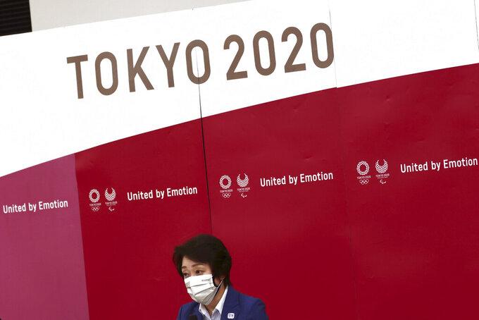 Tokyo 2020 President Seiko Hashimoto speaks during the Tokyo 2020 Olympic Games executive board meeting in Tokyo on Tuesday, June 8, 2021. (Behrouz Mehri/Pool Photo via AP)